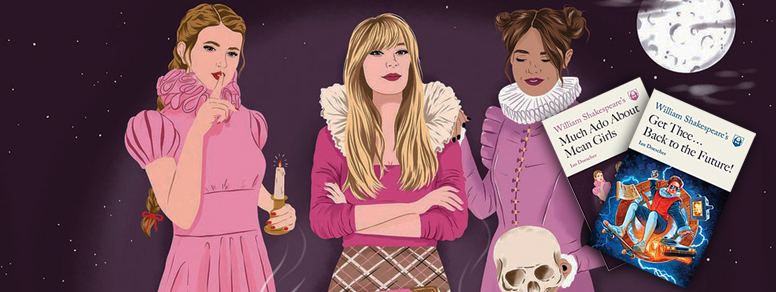 Illustration of Karen, Regina, and Gretchen from Mean Girls in early modern ruffs. Book cover of Ian Doescher's William Shakespeare's Much Ado About Mean Girls.