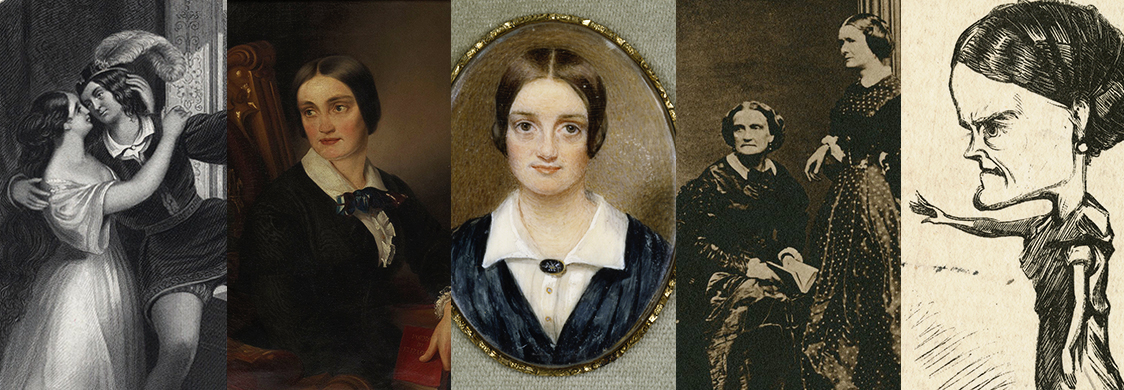 Collage portraits and illustrations of Charlotte Cushman, including playing Romeo opposite her sister, with her partner Emma Stebbins, a caricature of her onstage in Guy Mannering.