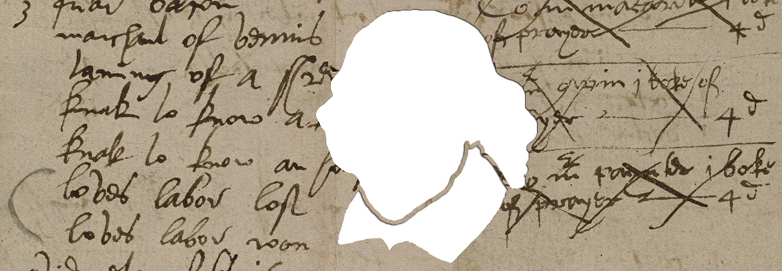 A negative image of Shakespeare is digitally cut out of a fragment of a Stationer's Account Book from 1603 that lists Loves Labors Won among other plays by Shakespeare.