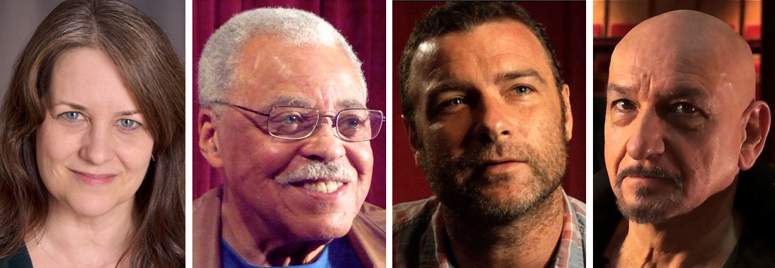 How Shakespeare Changed My Life podcast episode. Pictured left-right: Melinda Hall, James Earl Jones, Liev Schreiber, and Sir Ben Kingsley. Photos courtesy of Melinda Hall.