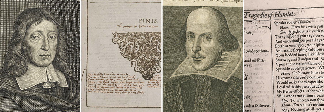 Collage of images - John Milton, his annotations to Romeo and Juliet in his copy of the Shakespeare First Folio, Shakespeare, Miltons annotations to Hamlet in the First Folio
