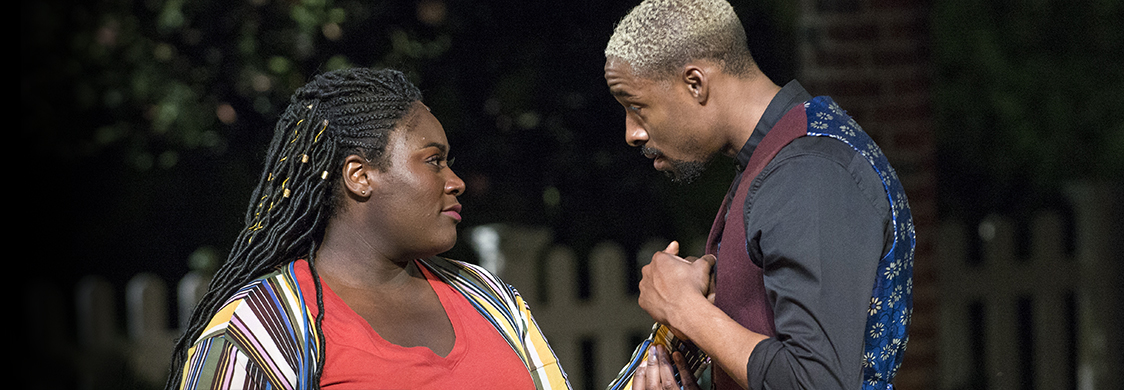 Danielle Brooks and Grantham Coleman in Much Ado About Nothing at Shakespeare in the Park, directed by Kenny Leon.