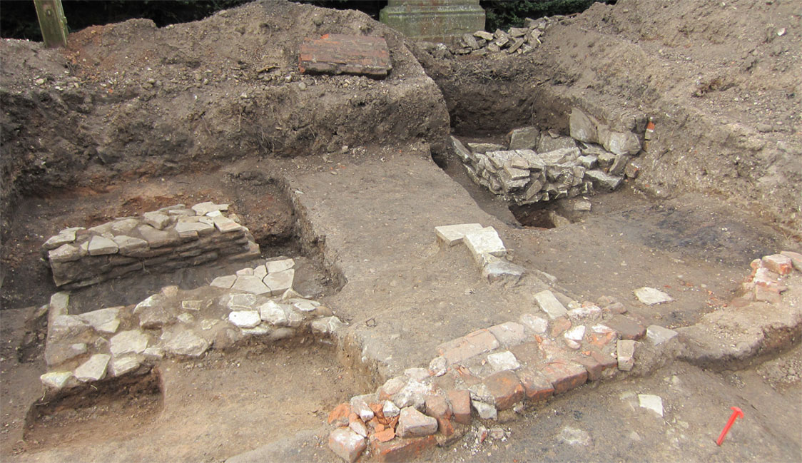 """The archaeological dig at Shakespeare's house, """"New Place,"""" in Stratford-upon-Avon"""