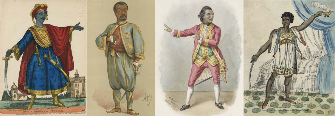 Eighteenth- and nineteenth-century actors in the role of Othello. Images from the Folger Shakespeare Library collection.