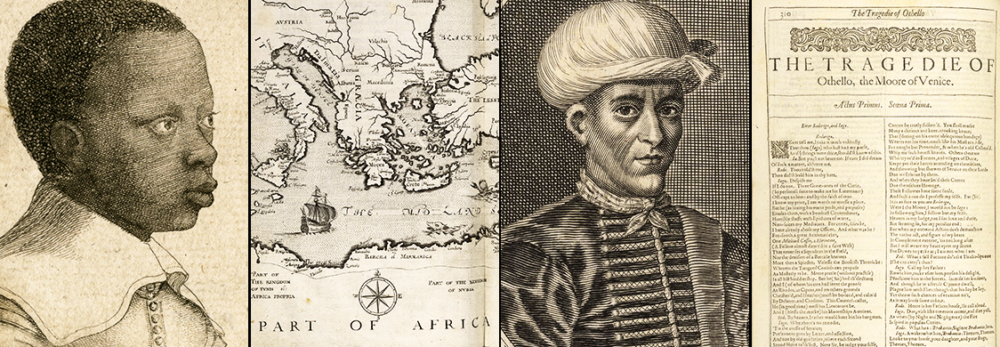 Collage of images from the Folger collection. A early 17th-century print of a young Black boy. A map of the Mediterranean. A portrait of the Moroccan ambassador to England in 1637. The title page for Othello in the First Folio.
