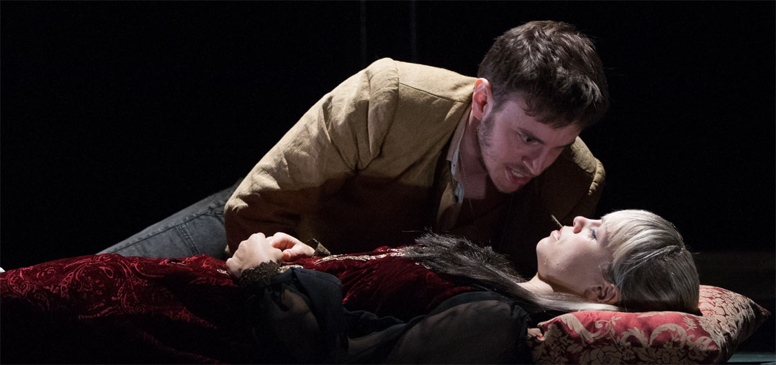 Erin Weaver (Juliet) and Michael Goldsmith (Romeo) in Romeo and Juliet, directed by Aaron Posner, Folger Theatre, 2013. Photo by Teresa Wood.
