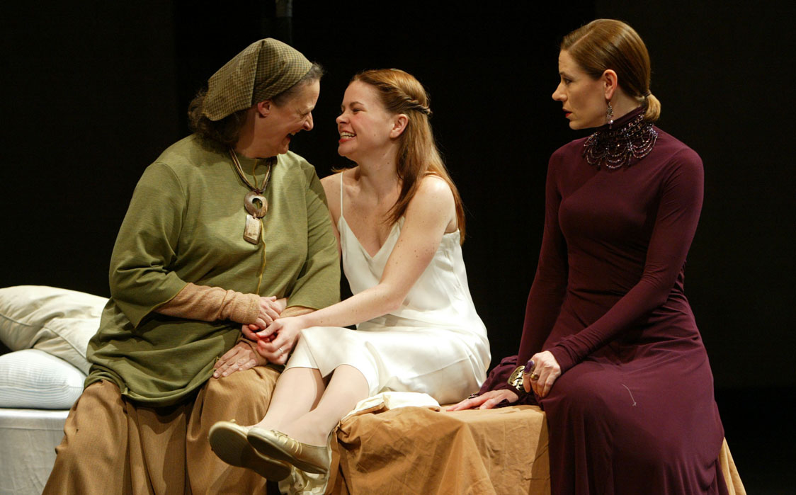 Nancy Robinette (Nurse), Nicole Lowrance (Juliet), and Julie-Ann Elliott (Lady Capulet), Romeo and Juliet, directed by PJ Paparelli, Folger Theatre, 2005. Photo by Carol Pratt.