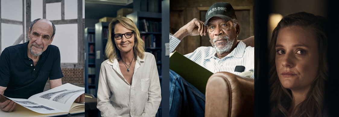 Collage of photos of F. Murray Abraham, Helen Hunt, Morgan Freeman, and Romola Garai, by Rory Mulvey
