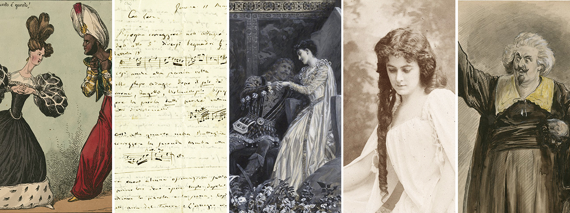 Collage of images from the Folger collection depicting Shakespearean operas: Otello, Romeo et Juliette, a handwritten letter from Verdi, and others