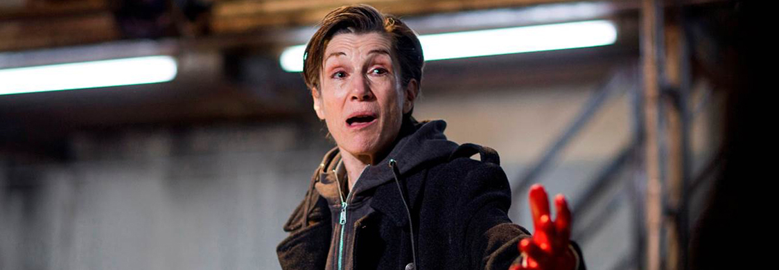"Harriet Walter as Brutus in Shakespeare's ""Julius Caesar"" the Donmar Warehouse, 2012. Photo by Helen Maybanks."