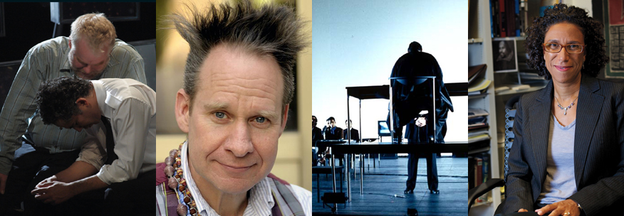 "Director Peter Sellars, scholar Ayanna Thompson, and images from Sellars's productions of Shakespeare's ""Othello"" and ""The Merchant of Venice."""