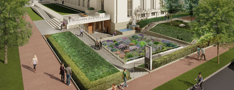 An architectural rendering of the west side of the Folger Shakespeare Library