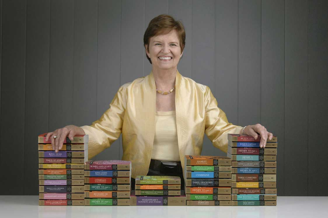 Barbara Mowat with the Folger Editions of Shakespeare's Complete Works