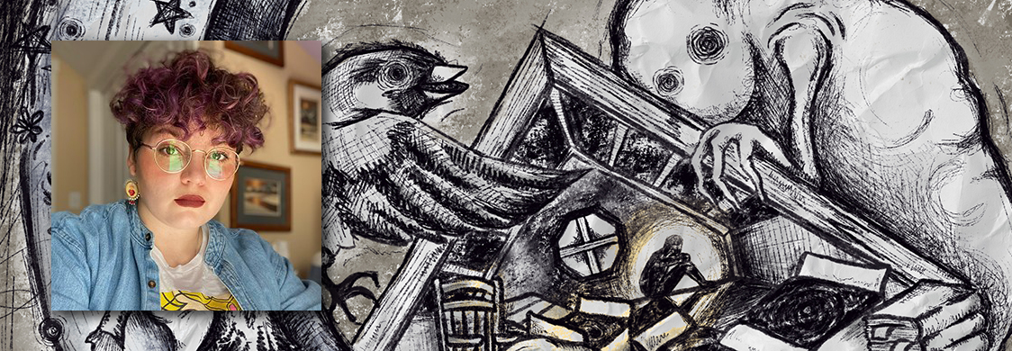 Sketch: a small figure works in the attic of a house on stilts, flanked by a giant bird and eerie ghost. Inset: photo of playwright Meme García.