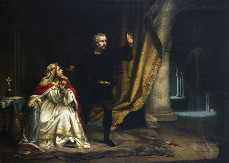 Painting of William Salter Herrick of Hamlet in Gertrude's chamber (Act 3, scene 4; 1857)