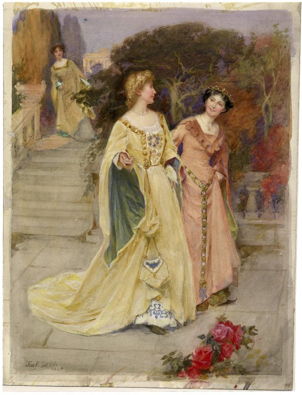 Beatrice overhears Hero and Ursula (Act 3, scene 1; 1904)