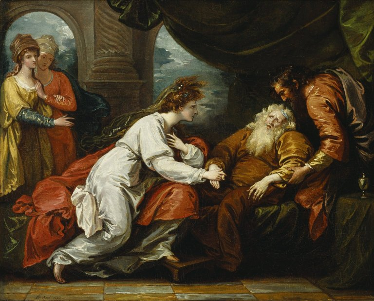 king lear shakespeare library benjamin west painting of lear s reunion cordelia act 4 scene 7