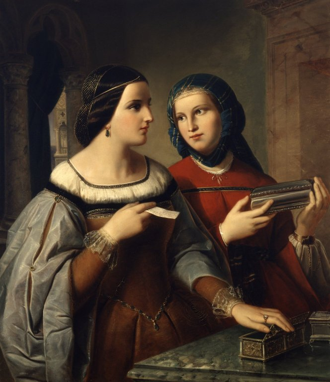 Portia and Nerissa (Act 1, scene 2; 1849)