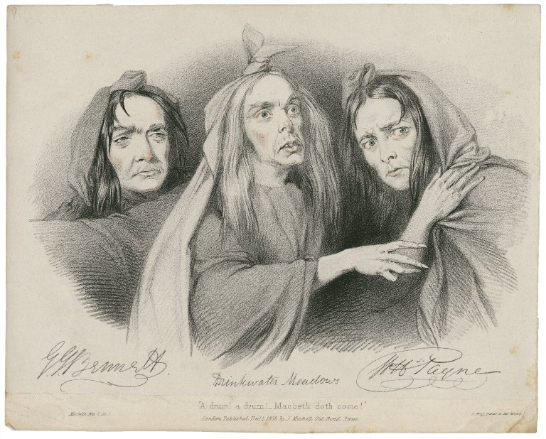 G.J. Bennett, Drinkwater Meadows, W.H. Payne as the witches (1838)