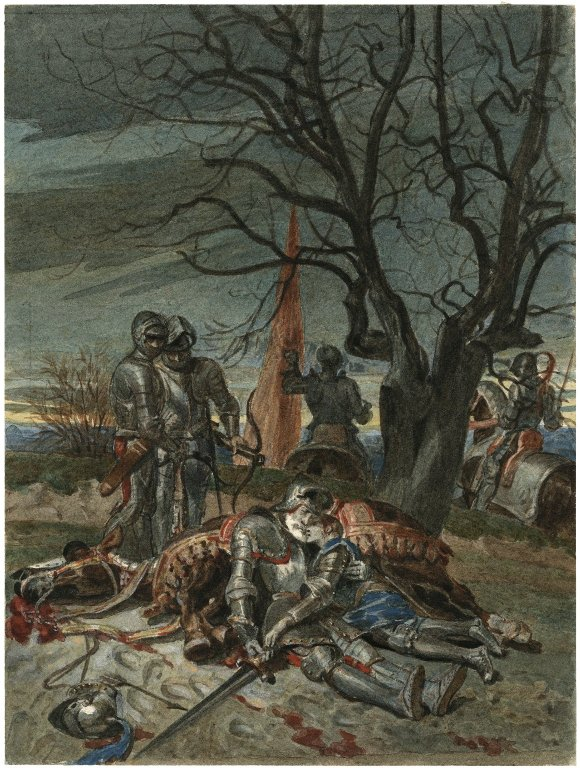 Painting by Alexandre Bida of the death of Lord Talbot and his son (act 4, scene 7; 19th century)