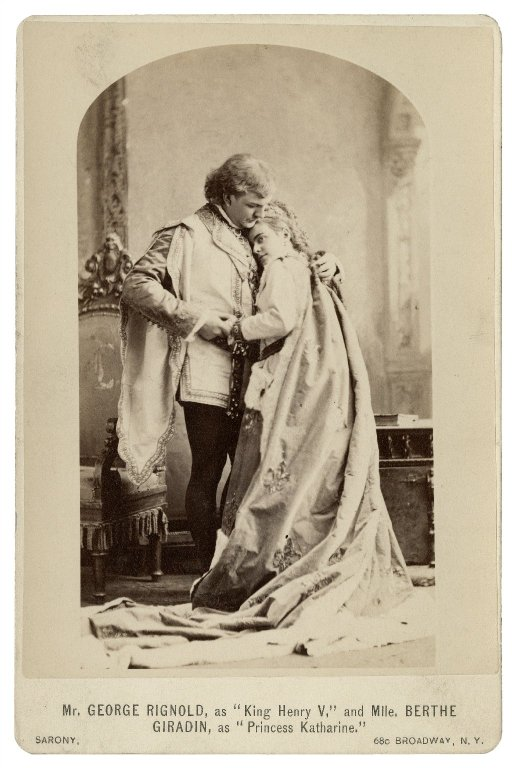 George Rignold as Henry V and Berthe Stuart as Katharine (act 5, scene 2; 1875)