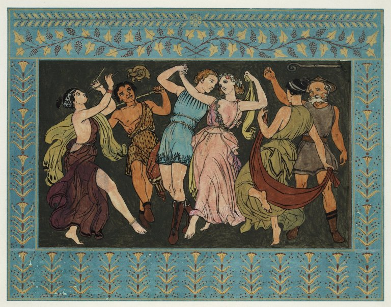Florizel and Perdita dancing with the shepherds (Act 4, scene 4; 19th century)