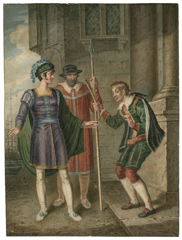 Drawing by J. Coghlan of Antipholus of Ephesus, an officer, and Dromio of Ephesus (Act 4, scene 1; 1816)