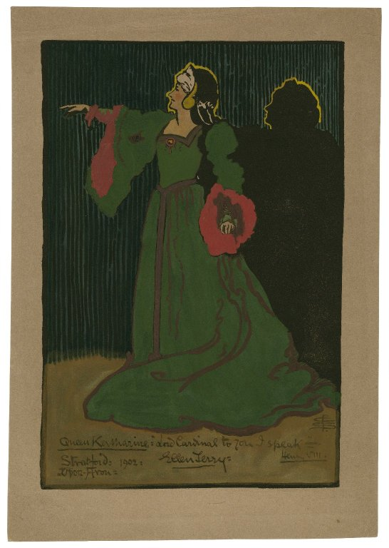 Pamela Smith watercolor of Ellen Terry as Queen Katherine (Act 2, scene 4; 1902)