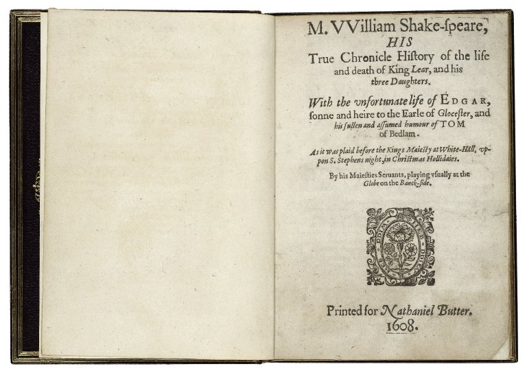 title page of Q2 King Lear