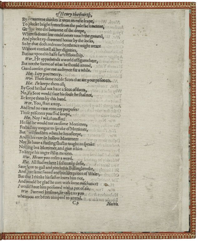 Fragment of the only surviving copy of the first edition of 1 Henry IV
