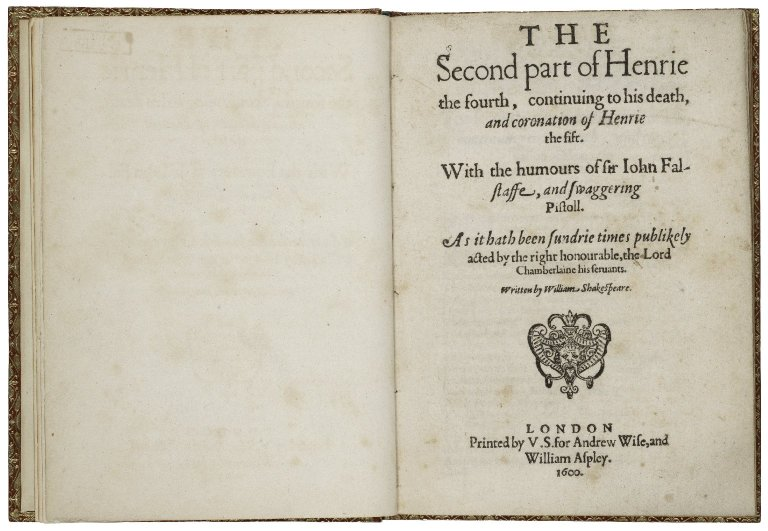 the title page of the first quarto of 2 Henry IV