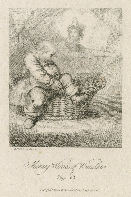 Falstaff hiding in the laundry (Act 3, scene 3; 1798)
