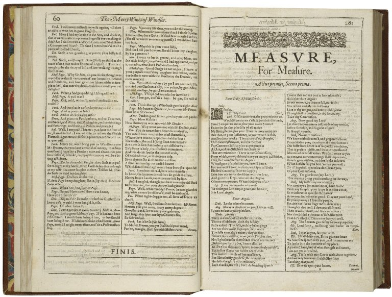 opening of Measure for Measure in the First Folio