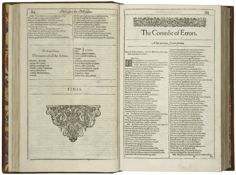 The opening of First Folio edition of Comedy of Errors