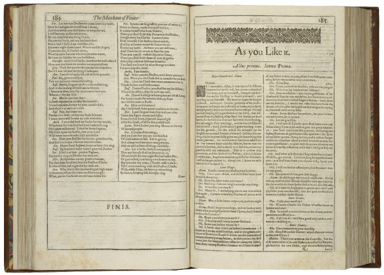 The opening of As You Like It in the First Folio