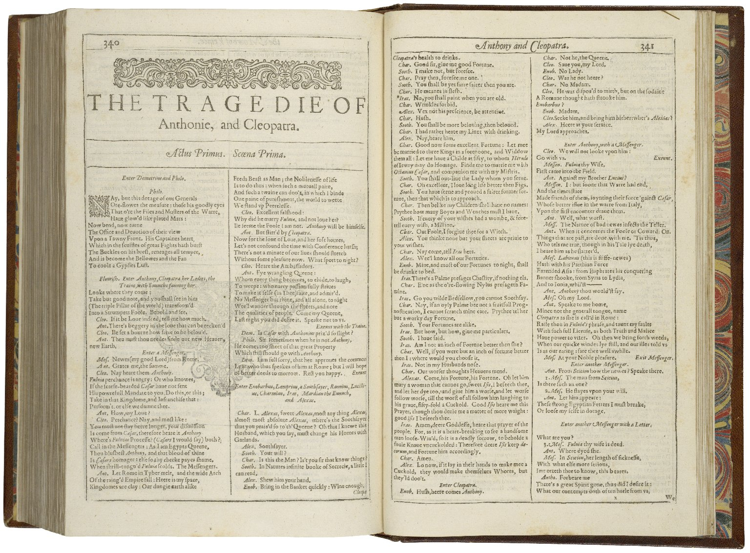 First pages of the First Folio edition of Antony and Cleopatra