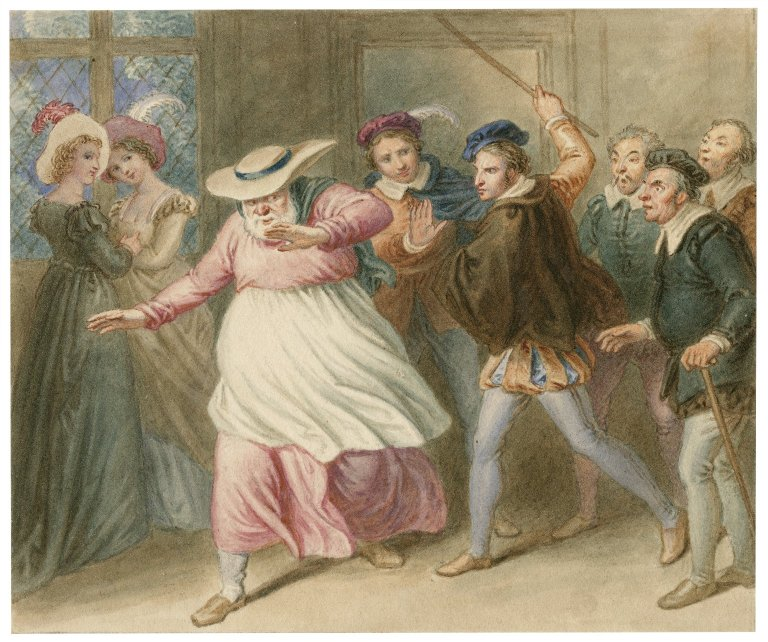Falstaff in disguise as an old woman (Act 4, scene 2; 19th century)