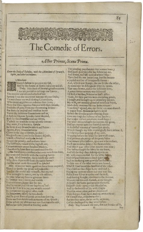 The opening of Comedy of Errors in the Second Folio