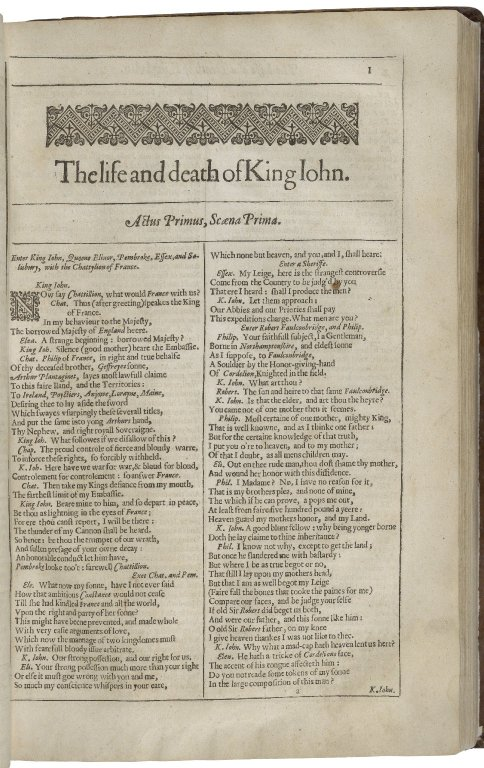 beginning of King John in the Second Folio