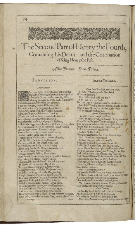 the beginning of 2 Henry IV in the Second Folio