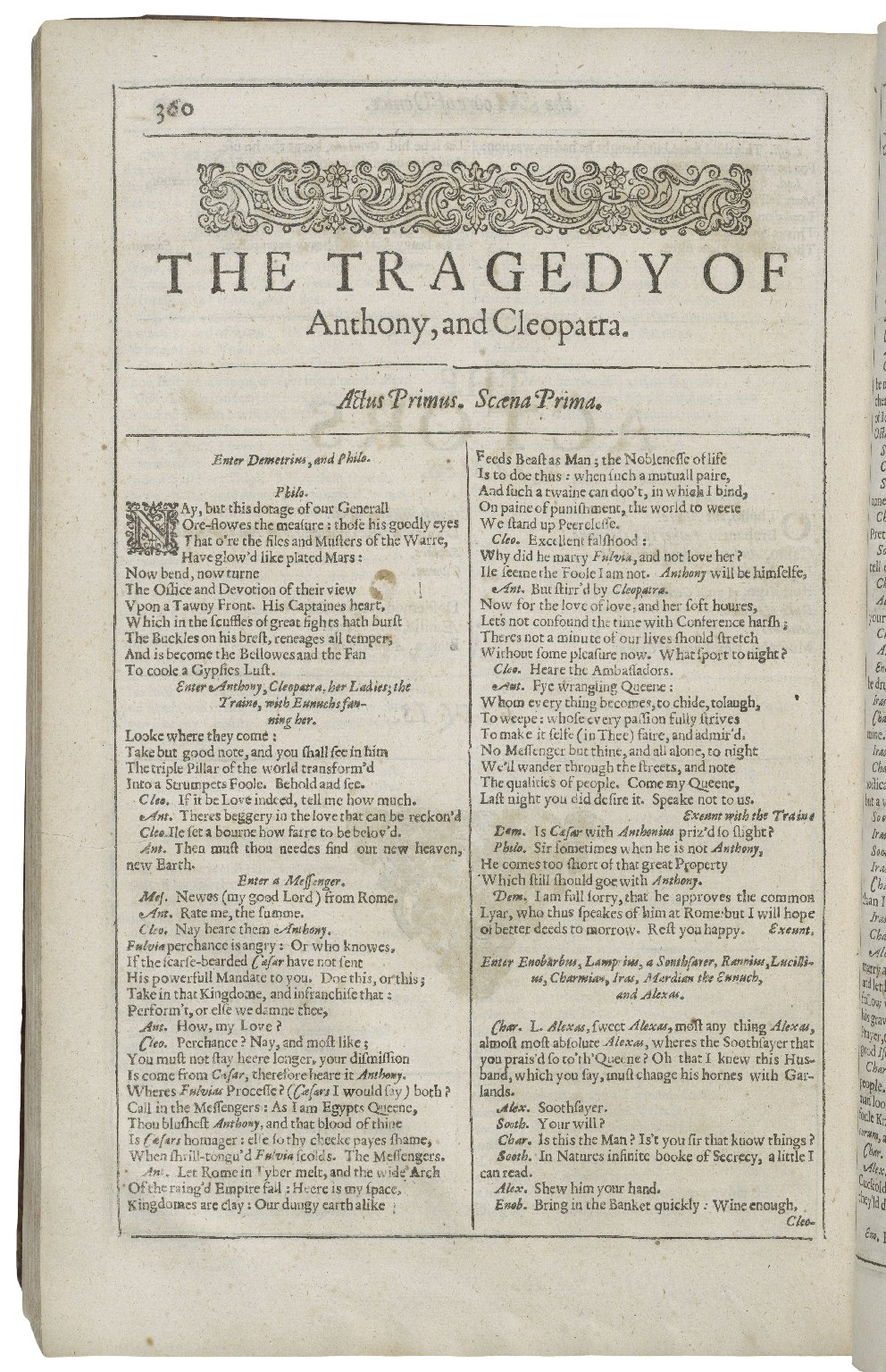 Opening of Antony and Cleopatra in the Second Folio
