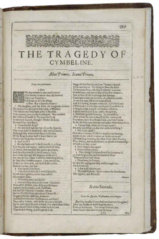 opening of Cymbeline in the Second Folio