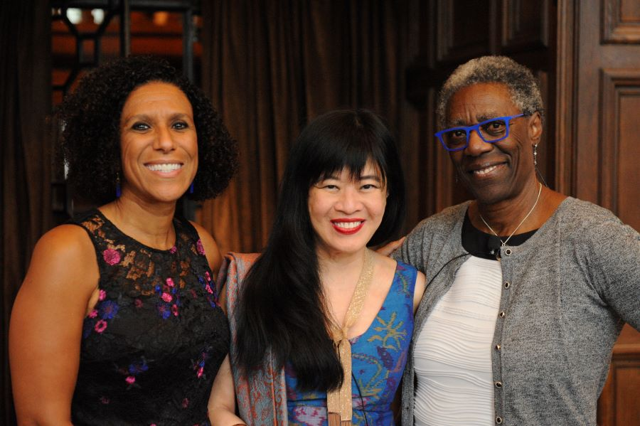 l-r Ayanna Thompson, Geraldine Heng, and Margo Henricks at the Race and Periodization symposium at the Folger, September 2019. Photo by Lloyd Wolf
