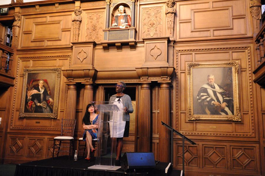 Margo Henricks speaking at the Race and Periodization symposium at the Folger, September 2019. Photo by Lloyd Wolf