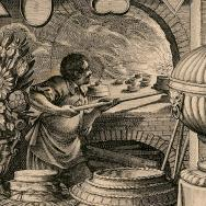 In an early 17th-century print, a pasty chef moves cakes and pies into a huge stone oven with a long paddle.