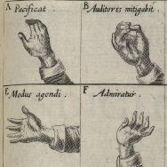 Illustration of four hands arranged in a grid demonstrating early modern sign language letters of A, B, E, and F