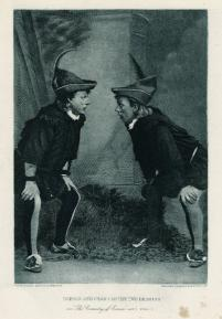 Stuart Robson and William Crane as the two Dromios (Act 5, scene 1; 1888)