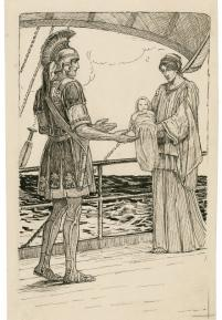 Pericles is presented with the baby Marina (Act 3, scene 1; early 20th century)