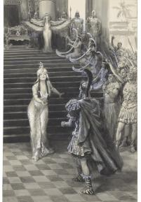 Drawing by A. M. Faulkner of Cleopatra greeting Antony (1906)