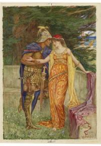 Drawing by H.J. Ford of Posthumous and Imogen (late 19th century)